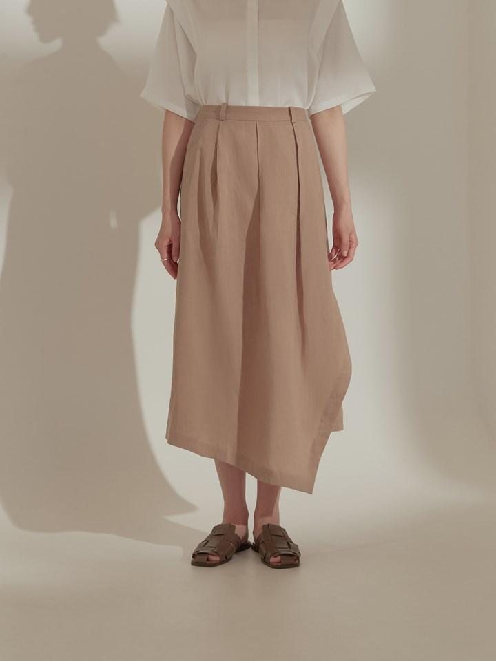 不對稱切角棉麻半身裙