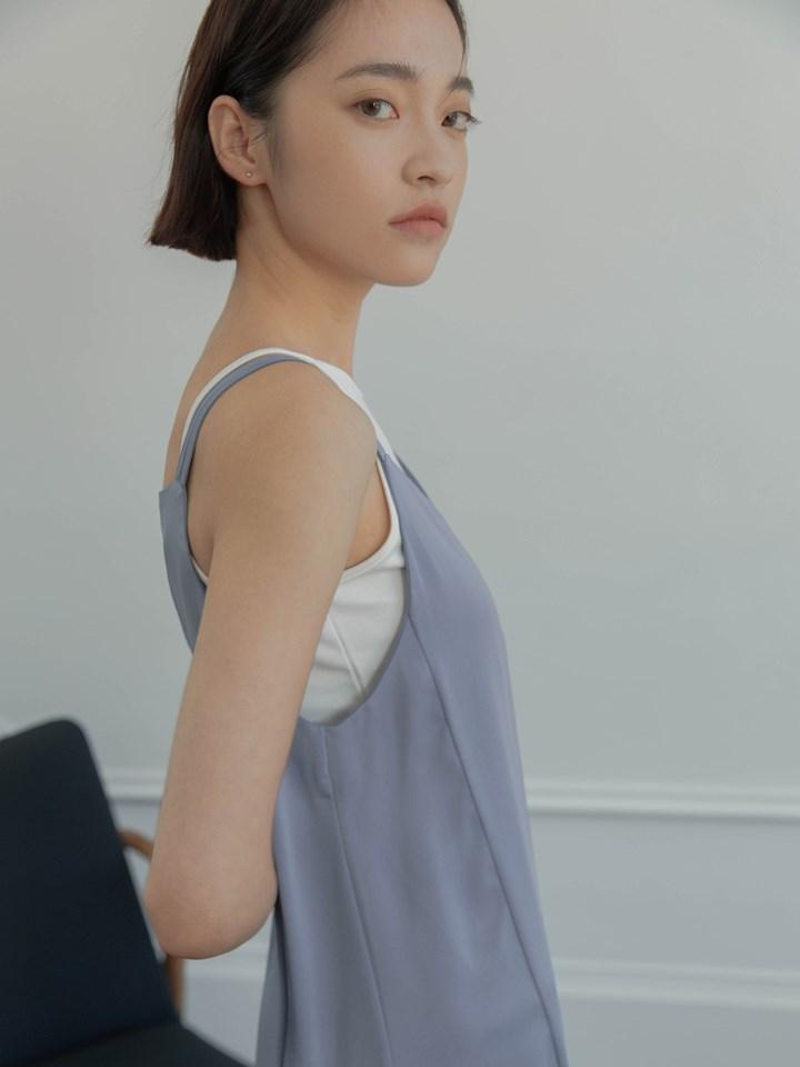 微光澤雙肩帶洋裝