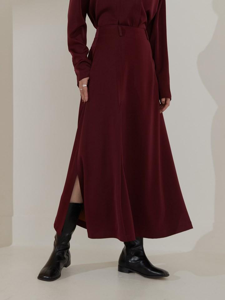 霧光感單側打褶半身裙