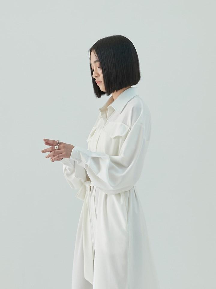 柔滑親膚長版襯衫(附綁帶)