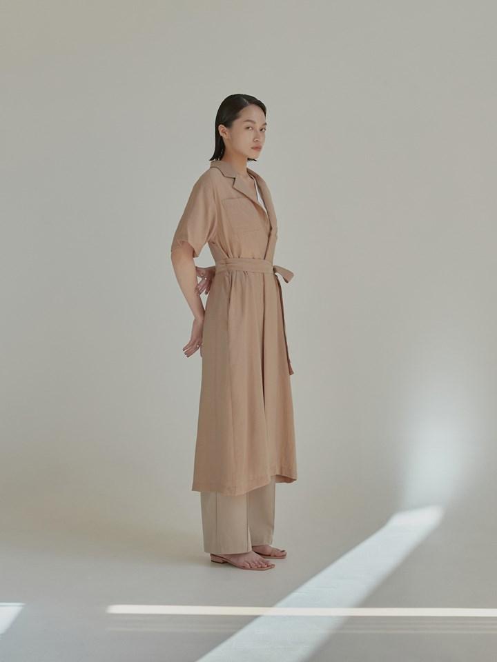棉麻短袖長版外套