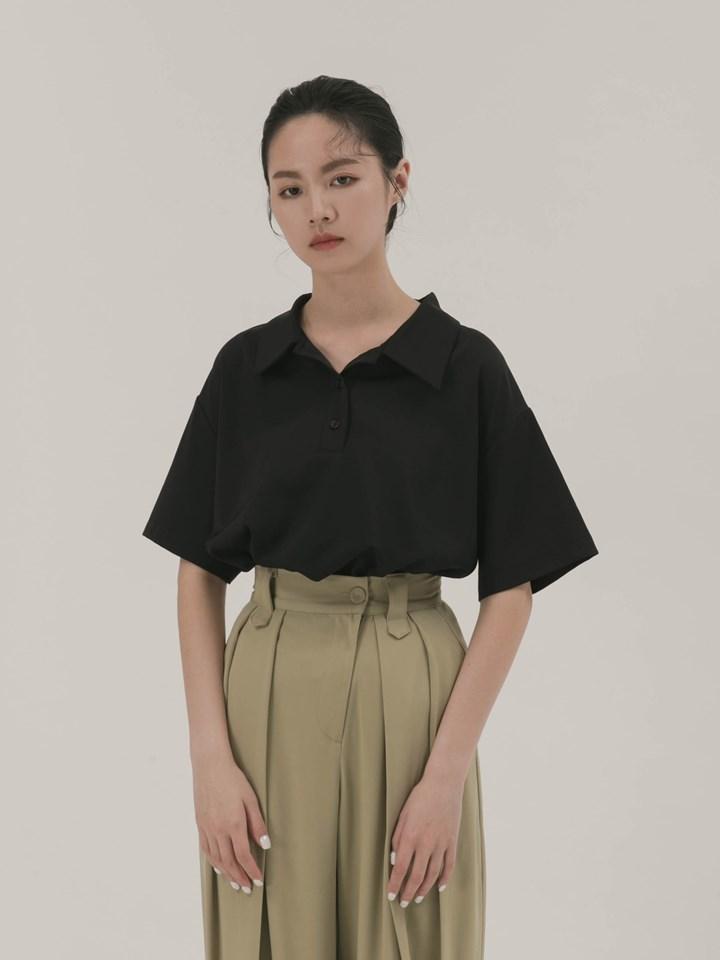 後拼接直條短袖襯衫
