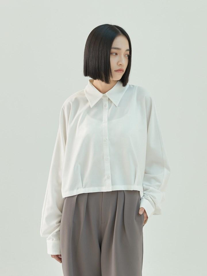 連袖短版打褶襯衫