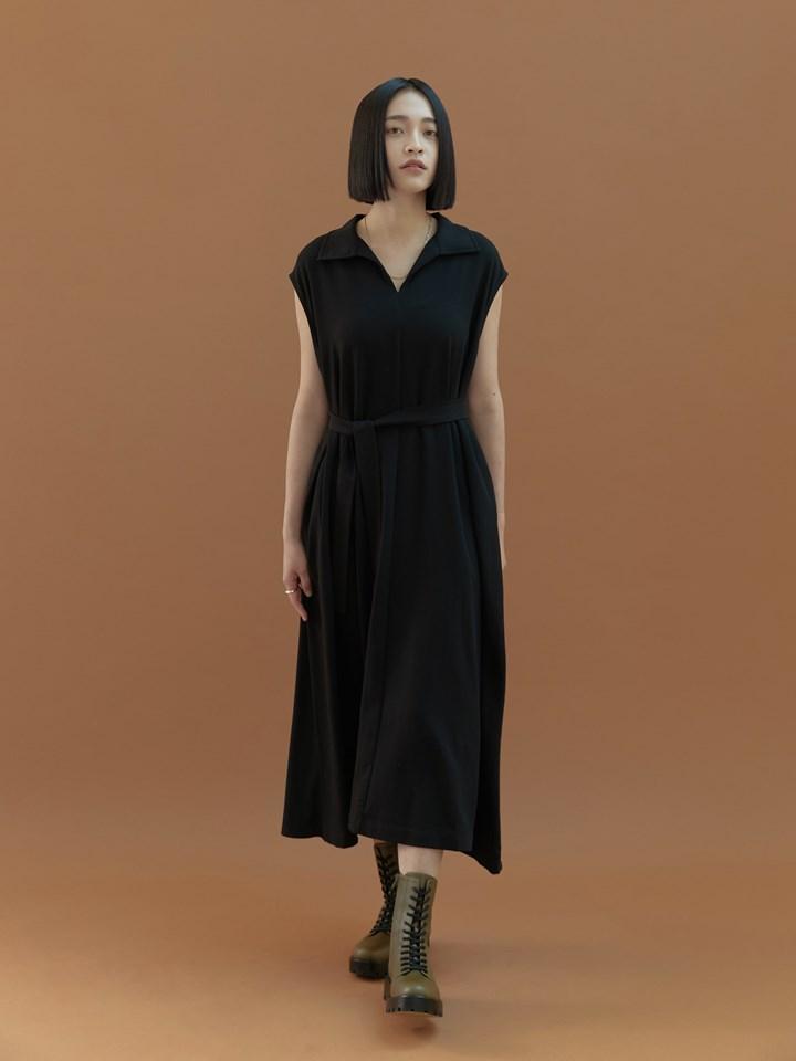 半開襟拼接針織洋裝