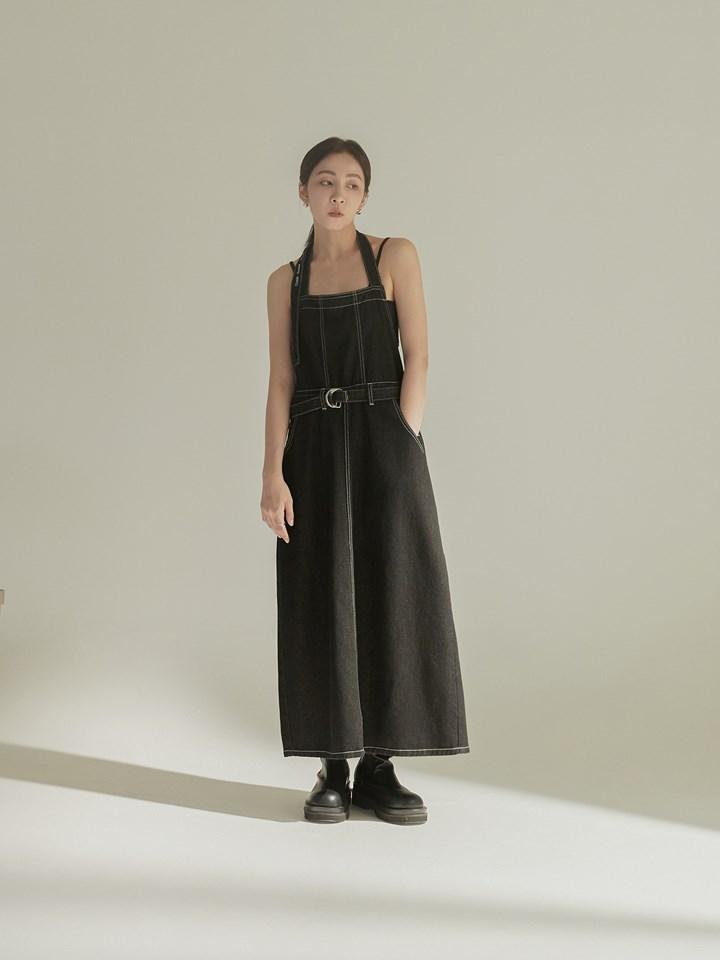 圍裙式丹寧吊帶裙