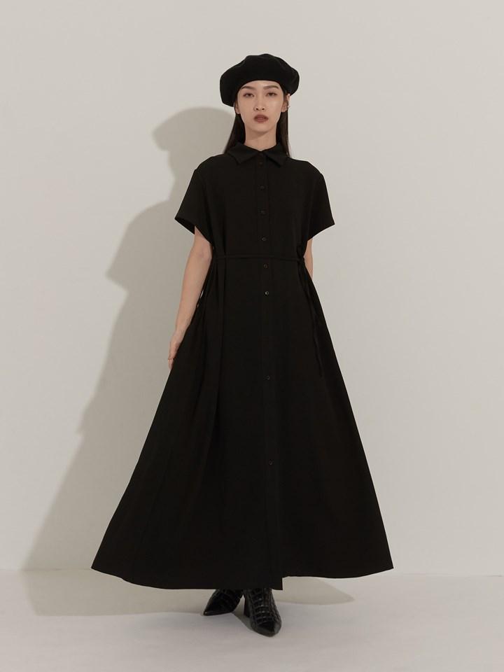 百褶設計落地長洋裝