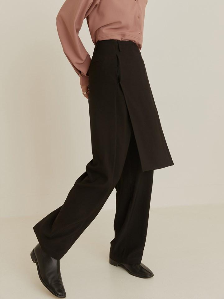 單邊不對稱裙片寬褲