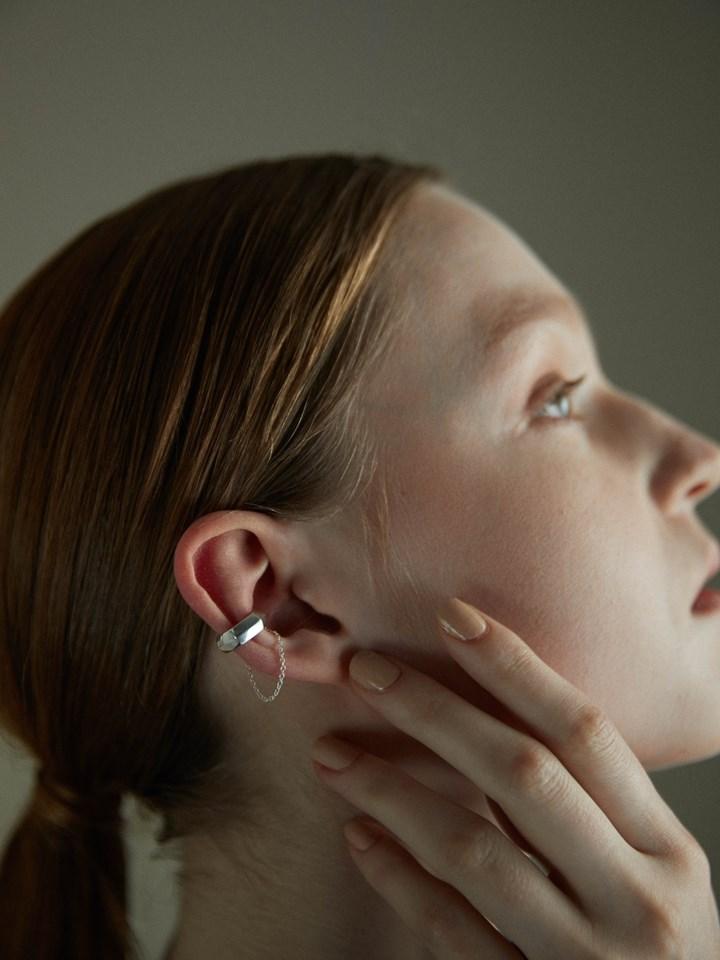 六角墜鍊耳扣-925純銀