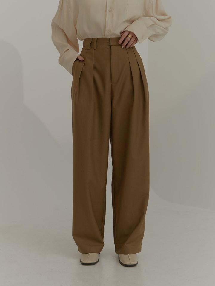 高腰雙褶寬管西裝褲