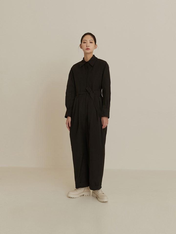 繭型襯衫式連身褲