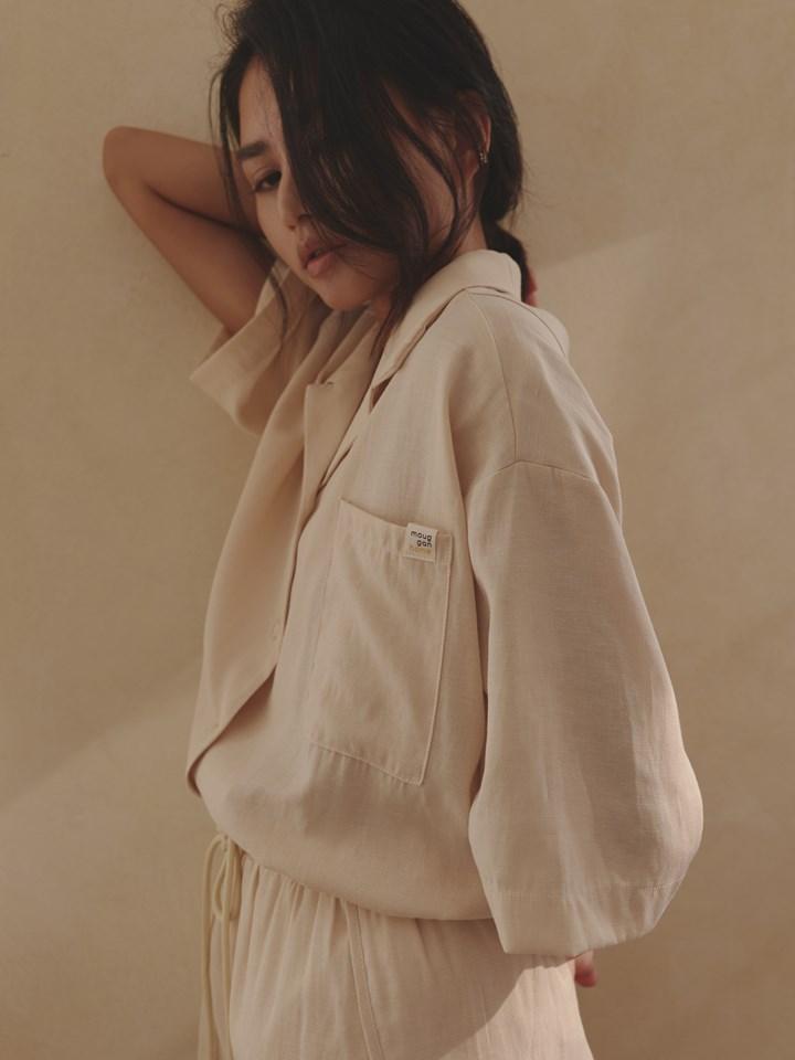 棉麻短袖襯衫 - mouggan home