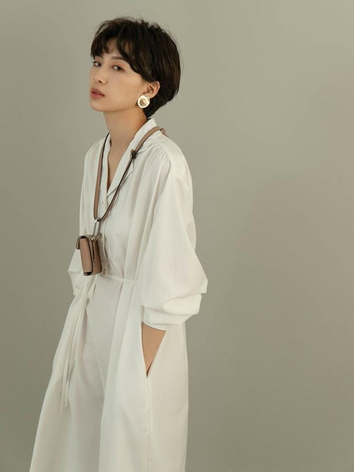 壓褶半開襟襯衫洋裝