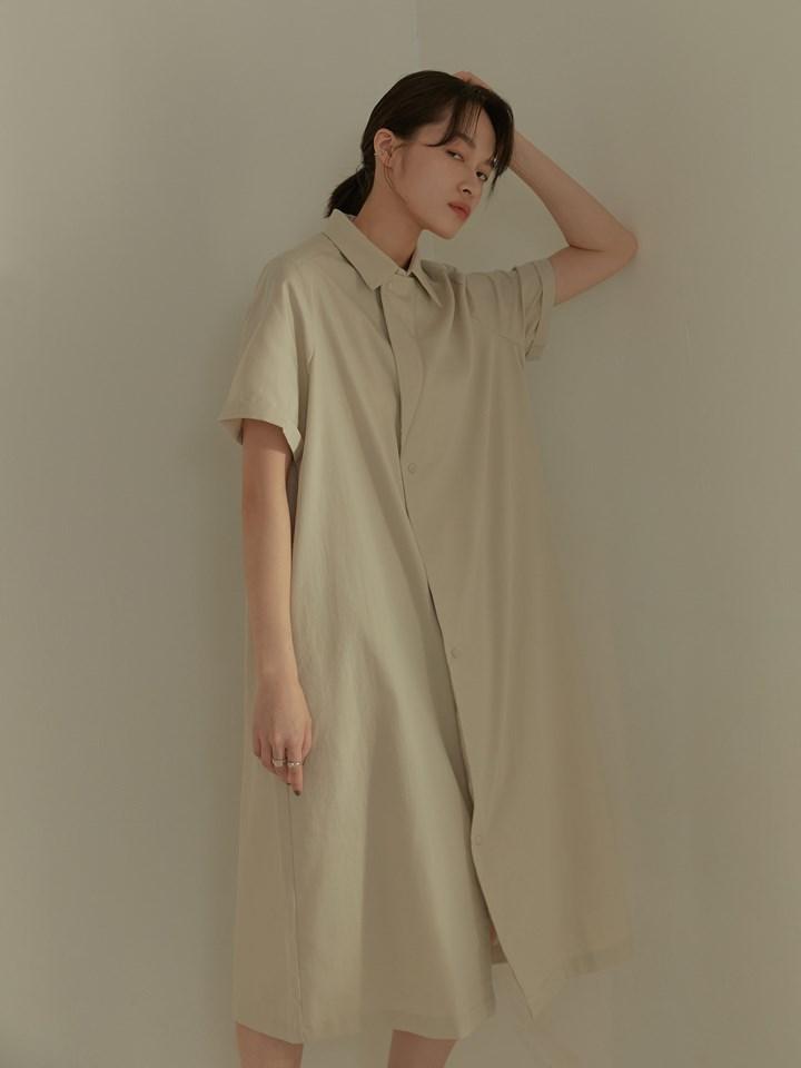 單邊翻領襯衫洋裝(附綁帶)