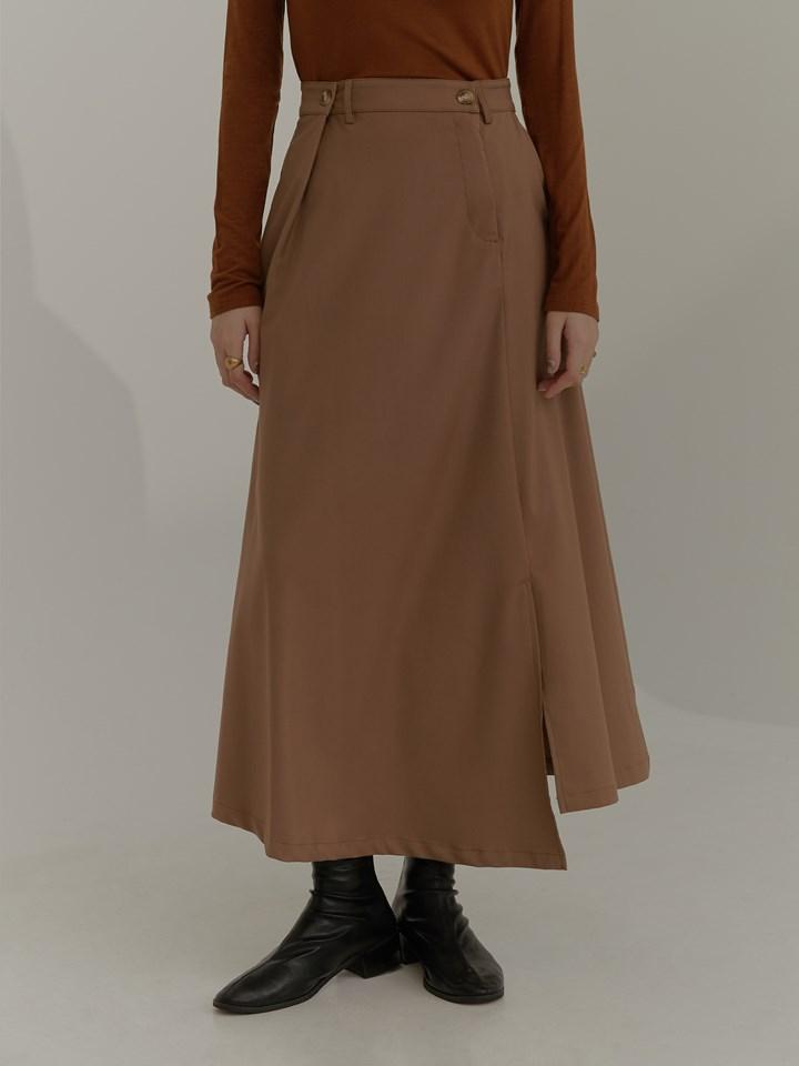 不對稱打褶西裝裙