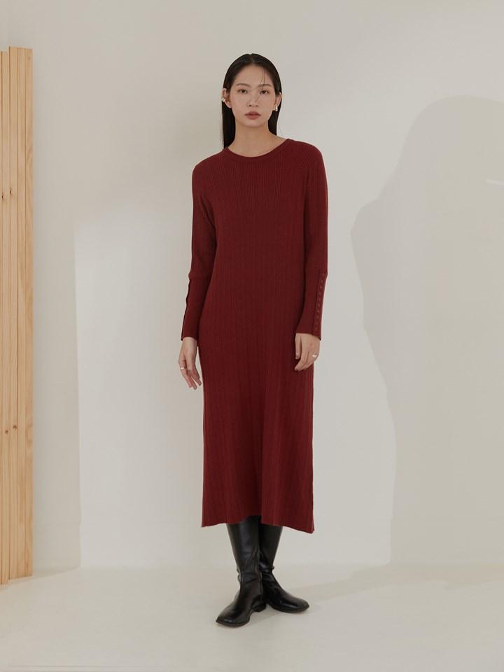 排釦袖直紋針織洋裝