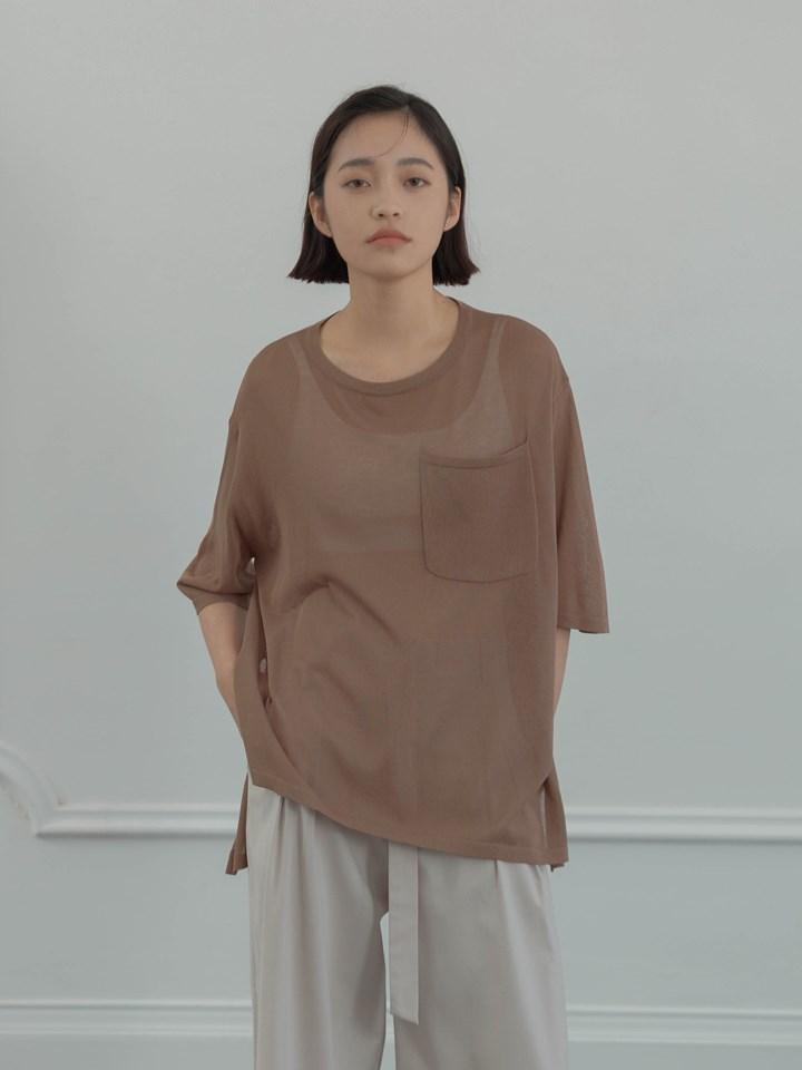 透膚斜襬短袖針織衫