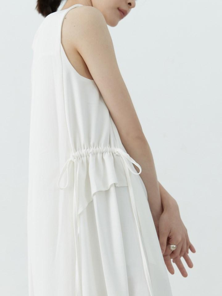棉麻感側抽繩長洋裝