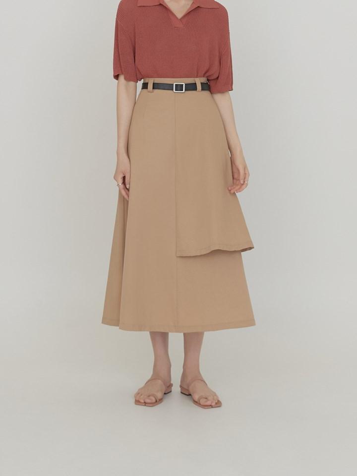 單邊雙層A字裙(附皮帶)