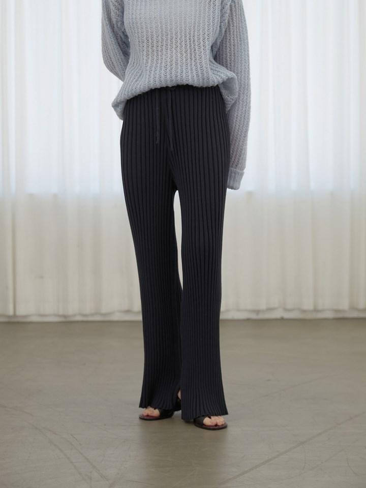 坑條側衩針織落地褲