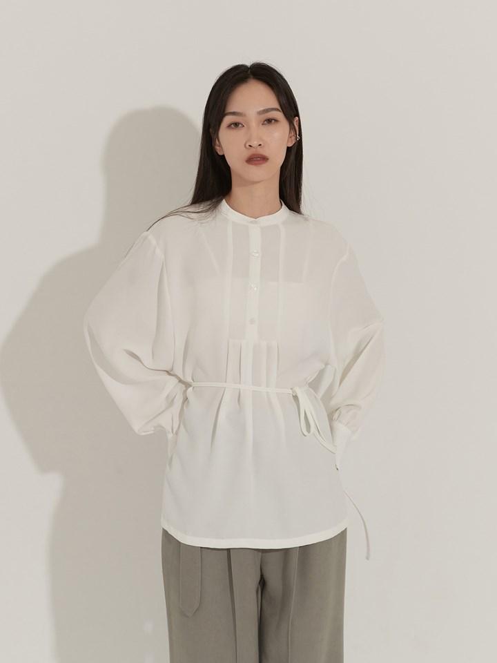 半開襟壓褶襯衫(附綁帶)