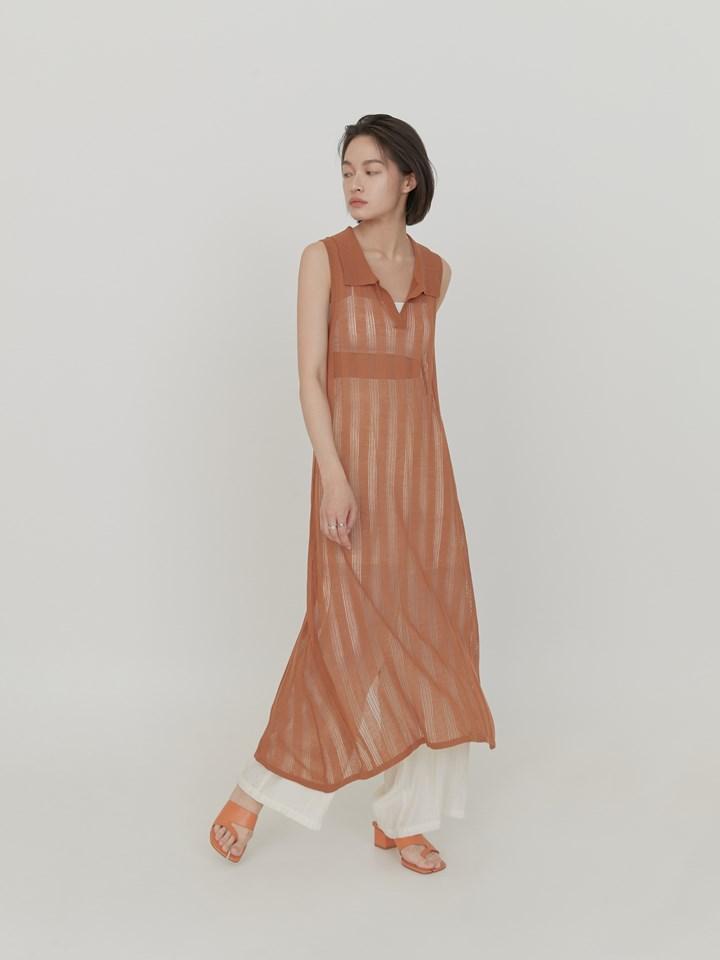 直紋透膚針織長洋裝