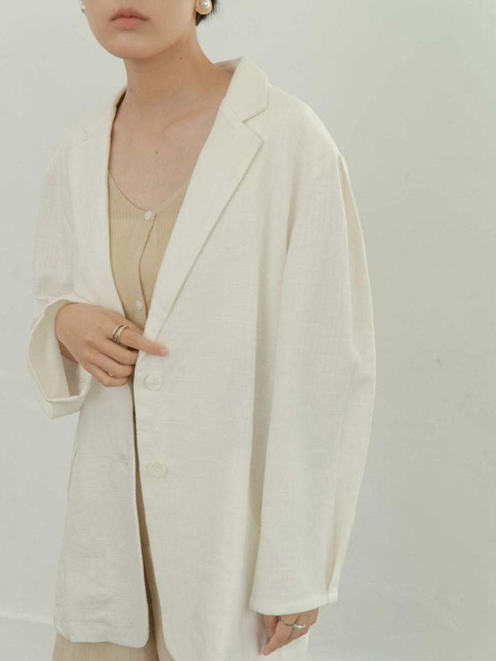 棉麻挺版西裝外套