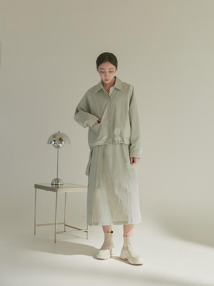 斜片裝飾半身裙(附腰帶)