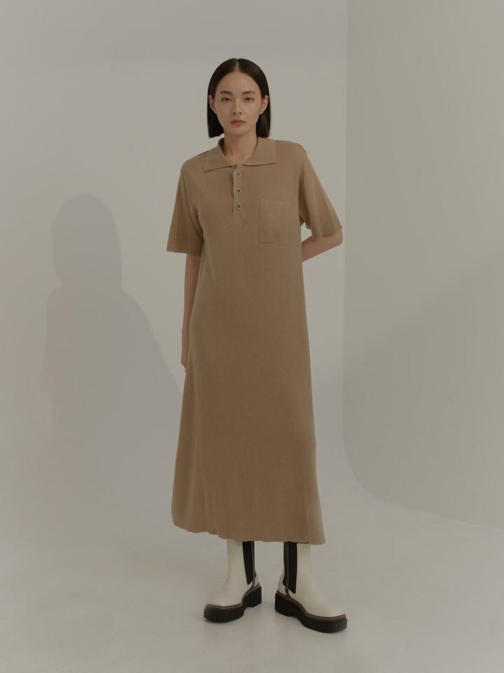 框線設計短袖針織洋裝