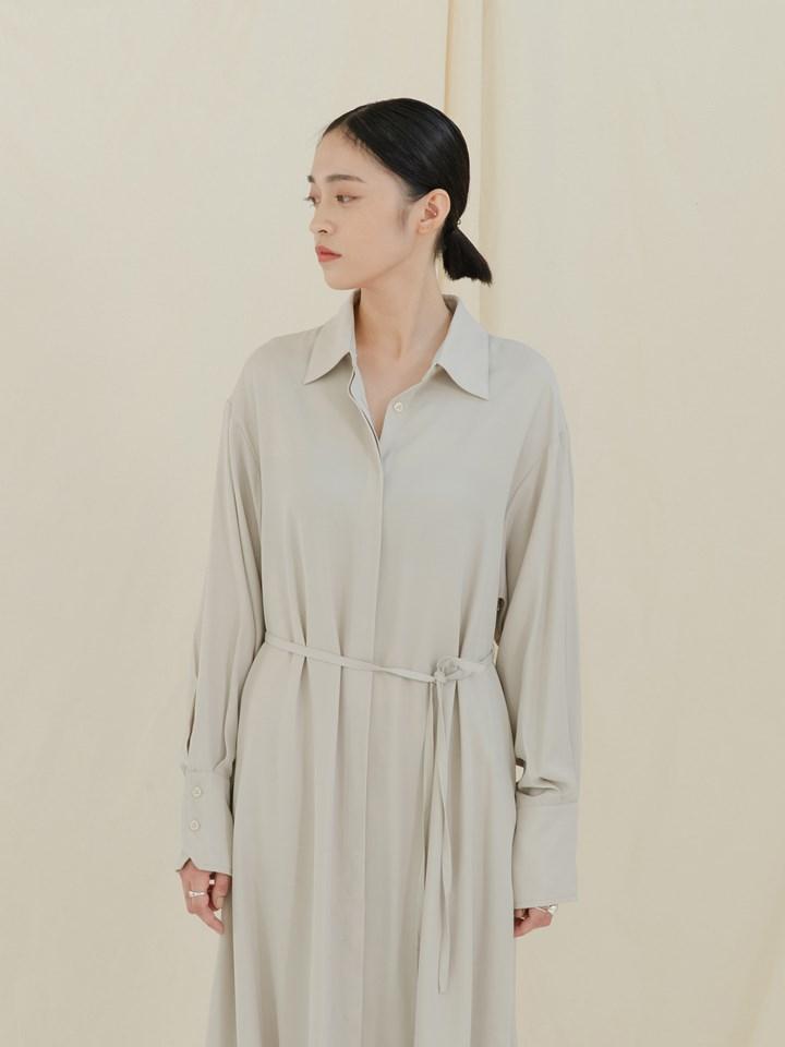 垂墜傘襬襯衫洋裝(附腰帶)