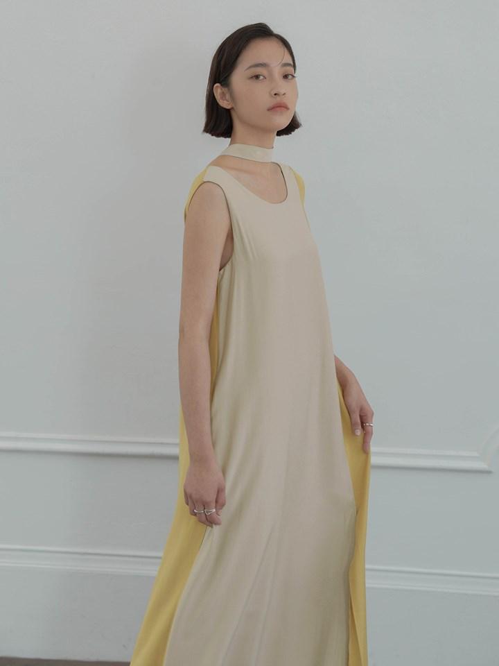 垂墜感拼色洋裝