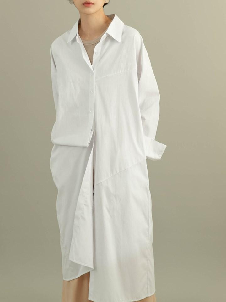 條紋拼接設計感襯衫洋裝