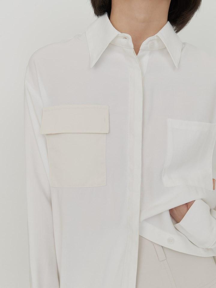 拼接異材質口袋襯衫