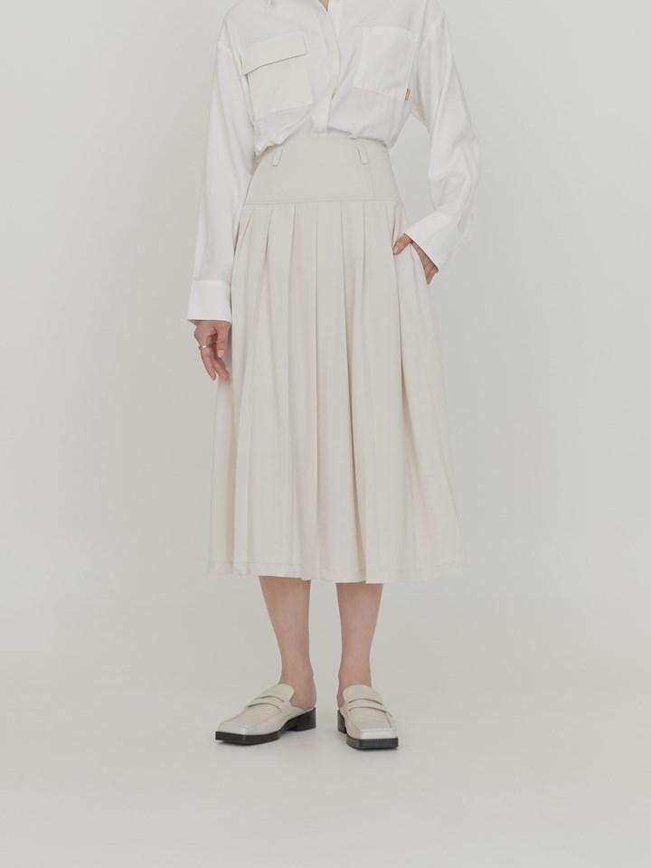 垂墜打褶細節半身裙