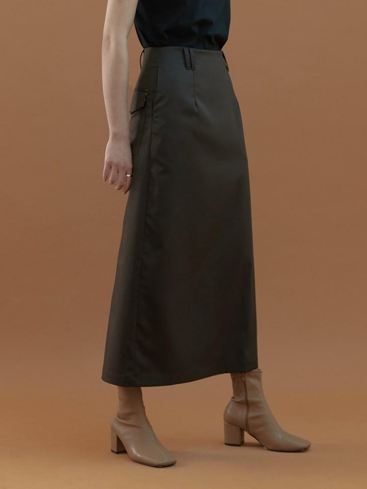 印花細節挺版半身裙