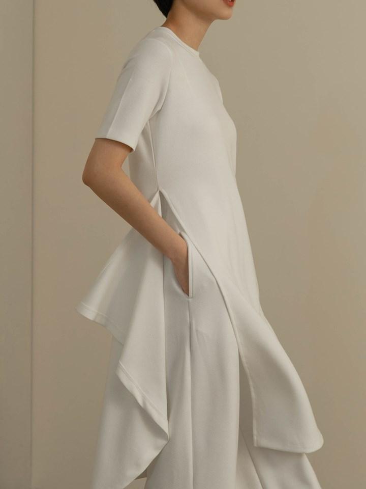 棉質側衩不規則長版TEE